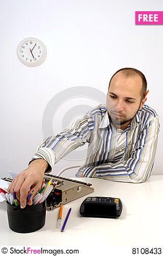Free Man Typing On Old Typewriter Stock Photos - 8108433