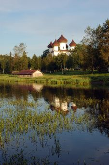View Of Ancient Cathedral In Kargopol At Sunrise Royalty Free Stock Photography