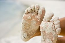 Free Feet In Sand Stock Photography - 8101222