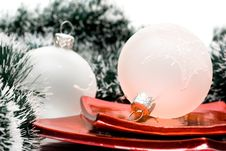 Christmas Balls In Plate Royalty Free Stock Photo