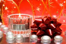 Free Festive Candles With Bow Stock Image - 8101491