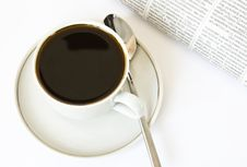 Free Coffee And Newspaper On White Royalty Free Stock Photos - 8102318