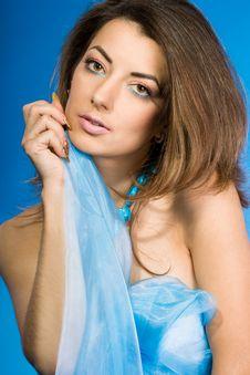 Woman With Blue Silk Stock Photos