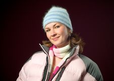 Free Pretty Redhead Woman Wearing Pink Winter Ski Coat Stock Photo - 8102760