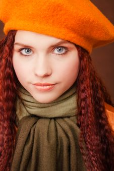 Free Young Pretty Girl In Orange Beret Royalty Free Stock Photo - 8102865