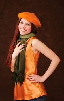 Free Young Smiling Girl In Orange Beret Stock Photography - 8102912
