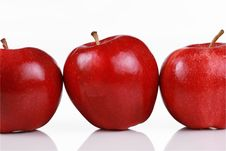 Free Three Shiny Red Apples Royalty Free Stock Images - 8102989