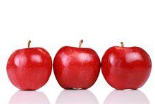 Free Three Shiny Red Apples Royalty Free Stock Photography - 8103107