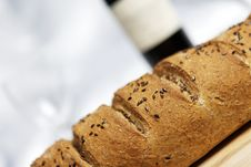 Free Fresh Bread And Wine Stock Image - 8103321