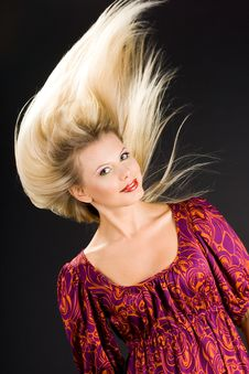 Beautiful Girl With Flying Hairs Stock Photos