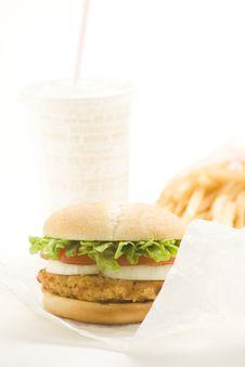 Free Crisp Chicken Burger Tomato Onion Cheese Lettuce Stock Photos - 8104583
