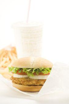 Free Crisp Chicken Burger Tomato Onion Cheese Lettuce Stock Photo - 8104590