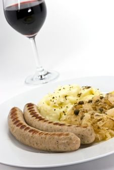Grilled Sausage With Cabbage And Mashed Potatoes,w Stock Photography