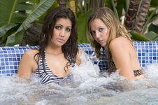 Young Women In An Outdoor Jacuzzi Royalty Free Stock Images