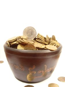 Free Coins In Ancient Bowl Royalty Free Stock Photos - 8107828