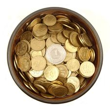 Free Coins In Ancient Bowl Royalty Free Stock Images - 8107869