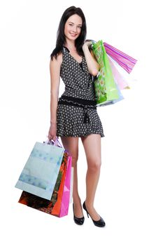 Free Pretty Young Woman With Color Bags Stock Photo - 8107880