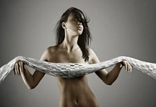Girl With Shawl Stock Images