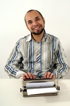 Man Typing On Old Typewriter Stock Photography