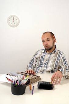 Man Typing On Old Typewriter Stock Photos
