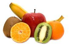 Free Kiwi, Mandarines, Apple And Banana Royalty Free Stock Photos - 8108928