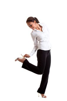 Asian Malay Woman Look At Her Shoe Stock Images