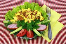 Free Omelet With Meat And Lettuce Royalty Free Stock Image - 8110686