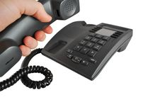 Free Hand With A Telephone Handset Raised Royalty Free Stock Image - 8111176