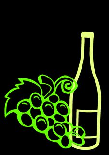Free Wine Bottle And Grapes Stock Photography - 8111242