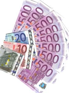 Range 500 Euro And Others Notes Stock Images