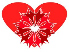 Abstract Red Heart With Patterns. Stock Image