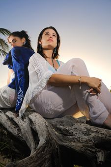 Free Two Females Relaxing Outdoors Royalty Free Stock Photography - 8112267