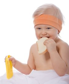 Free A Girl Eats A Sandwich With Cheese Stock Image - 8113011