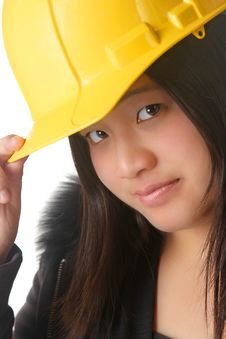 Pretty Lady With A Hardhat Royalty Free Stock Images