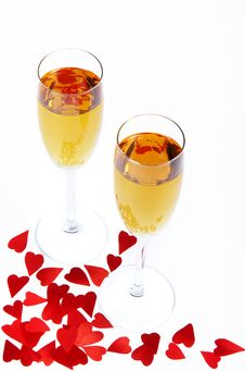 Free Two Wine Glasses And Small Hearts Royalty Free Stock Image - 8113126