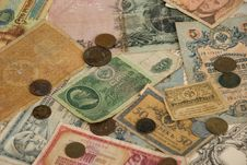 Retro Background With Old Currency Royalty Free Stock Images