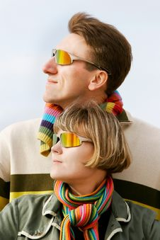 Young Couple In Sunglasses Stock Images