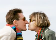 Young Couple Profiles Stock Image