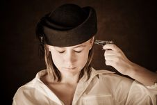 Free Young Girl With A Toy Pistol Stock Images - 8116424