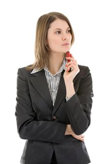 Young Business Woman With A Mobile Phone. Royalty Free Stock Photo