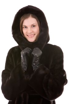 Free Beautiful Smiling Woman In Mink Fur Coat; Isolated Stock Photos - 8117563