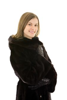 Free Beautiful Smiling Woman In Mink Fur Coat; Isolated Royalty Free Stock Images - 8117569