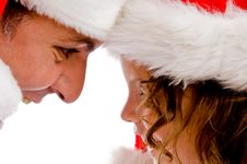 Free Father And Daughter In Santa Hat Stock Photo - 8118020