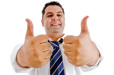 Free Executive With Goodluck Hand Gesture Royalty Free Stock Photo - 8118175