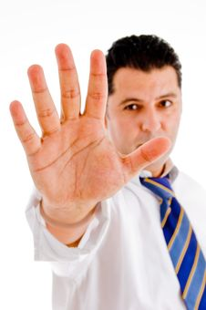 Free Executive With Stopping Hand Stock Photo - 8118200