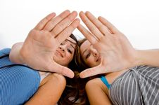 Free Girls Showing Hands To Camera Royalty Free Stock Photo - 8118445