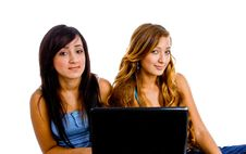 Free Young Female Students With Laptop Royalty Free Stock Photography - 8118487