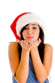 Christmas Hat On Girl Stock Images