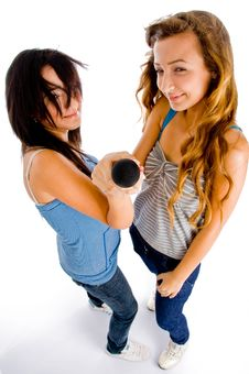 Free High Angle View Of Females Holding Microphone Royalty Free Stock Photography - 8118587