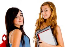 Free Students Posing With Bag And Books Royalty Free Stock Photography - 8118597